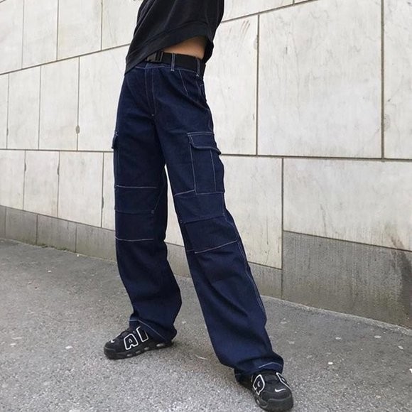 I.AM.GIA. Ace Denim Cargo Pants Wide Leg Hi-Rise